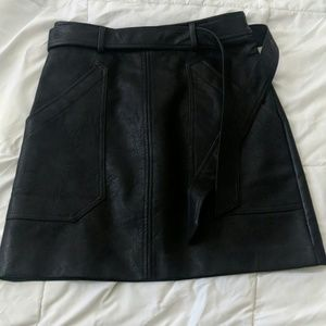 Faux leather skirt.